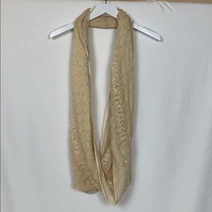 Beige infinity scarf with gold metallic thread